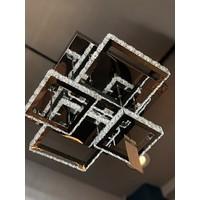 Burenze A+ Luxury Modern Plafonyer Kare Kristal Taşlı Power LED Avize 2+2 Model 3 Renk Krom BURENZE191