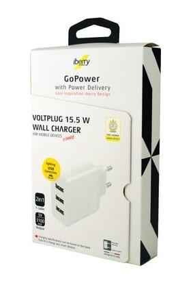 iBerry Voltplug 15.5W 3.1mah 3 USB Hızlı Şarj Cihazı GP071018E