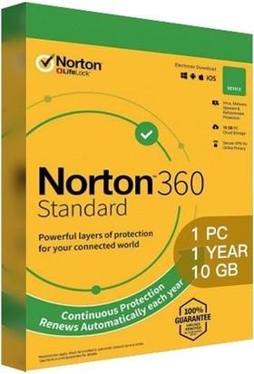 Norton 360 Standart 2021 1 Kullanıcı 1 Yıl