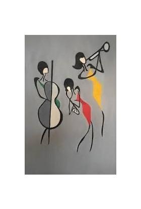 Hobi Sepeti Müzisyen Sayılarla Boyama Seti Fırça Pamuk Tuval Şeklinde Çerçeveli 35 x 50 cm