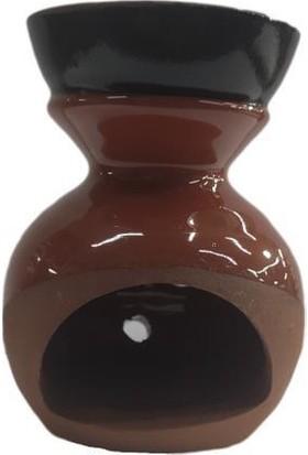 Mogan Çömlekçilik Toprak El Yapımı Turuncu Sırlı Lüks Buhurdanlık Model.2