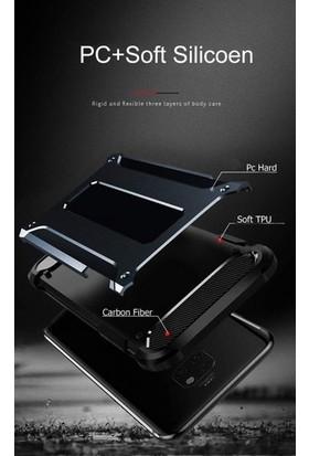 CepArea Samsung Galaxy J7 Prime Kılıf Zırh Özellikli Tank Crash Çift Katman Silikon Kapak + Kırılmaz Cam Gümüş
