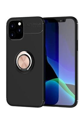 Fujımax Apple iPhone12 Mini Fortine Yüzük ve Standlı 2in1 Silikon Kılıf Siyah - Rose Gold