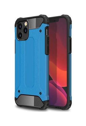 Fujımax Apple iPhone12 Mini Milux Ultra Korumalı ve Kalınlaştırılmış Sert Silikon Kılıf + 9h Hayalet Tam Kaplayan Ekran Koruyucu Mavi