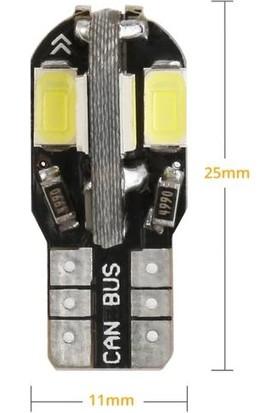 Sisa T10 LED Metal Ultra W5W 8 Ledli Beyaz Park Tavan Plaka Ampülü 2 Adet