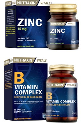Nutraxin Cilt, Saç, Tırnak Sağlığı Için Çinko Takviyesi 15 Mg 100 Tablet + B Vitamin Complex 60 Tablet