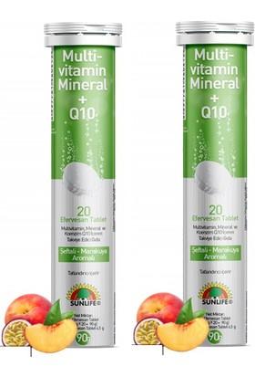 Sunlife Multivitamin Mineral Ve Koenzim Q10 Içeren 20 Efervesan Tablet x 2 Adet