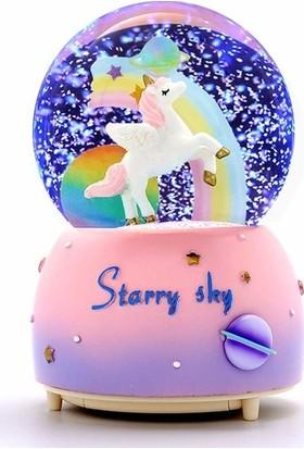 Şifa-Inur Orta Boy Unicorn Kar Küresi Işıklı Müzikli+Pil