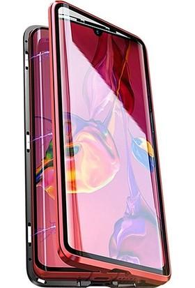 Case Huawei P20 Mıknatıslı 360 Derece Ön ve Arka Cam Full Korumalı Manyetik Kılıf Kırmızı
