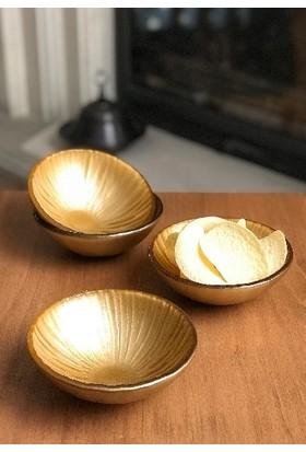 Sunu Gold Sun Altın Renkli 4'lü Cam Kase Seti 13 cm