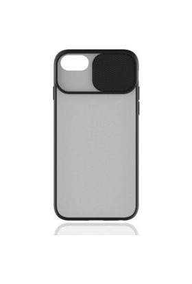 Semers Apple iPhone 7/8/se Kılıf Kamera Korumalı Slayt Sürgülü Renkli Kenarlı Mat Şeffaf Sert Silikon Siyah