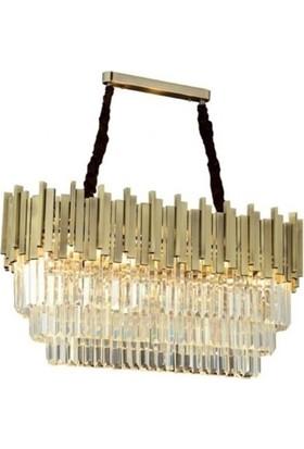 Burenze Luxury Modern Kristal Taşlı Sarkıt Avize Eskitme Yemek Masası BURENZE719
