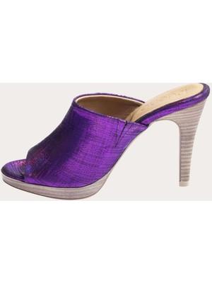 Bueno Shoes Deri Fuşya Kadın Topuklu Terlik