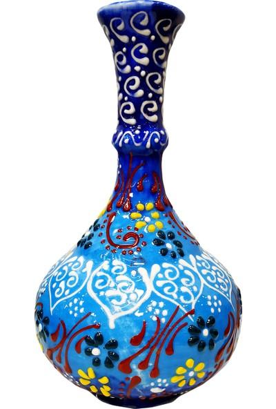 Otogar Çini El Yapımı 3 Lü Çini Konsol Takımı-2 Vazo 1şekerlik Mavi Renk Kabartma Dantel Işleme