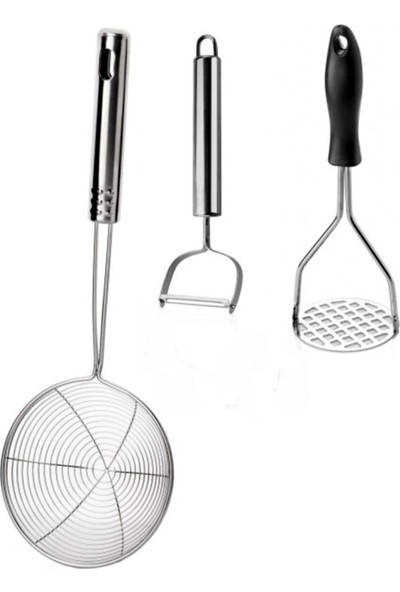 Lagabya 14 cm Palanmaz Çelik Kevgir, Soyacak ve Patates Ezici