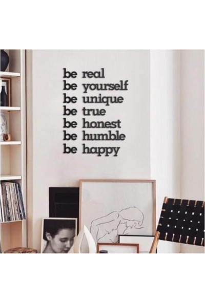 Ferman Hediyelik Be Real Be Yourself Ahşap Tablo Duvar Yazısı
