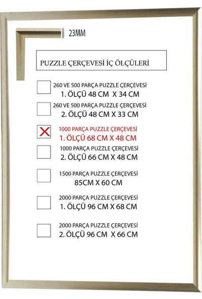 Efor Puzzle Çerçevesi 1000 Parça -Camsız - 1.ölçü 68 cm x 48 cm - Platin Gümüş -Çerçeve 23 mm