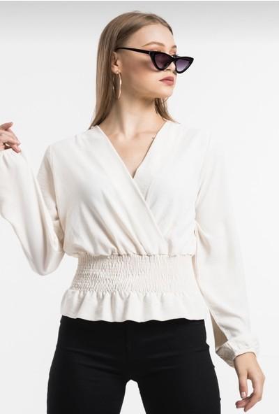 My Style Kadın Bel Büzgülü Uzun Kollu Bluz