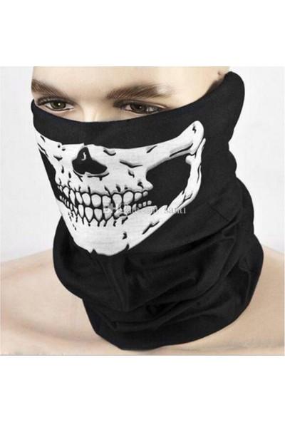 İda Esnek Kumaş Kuru Kafa Iskelet Maske Motorcu Kar Maskesi-Boyunluk-Maske-Baf-Ağızlık