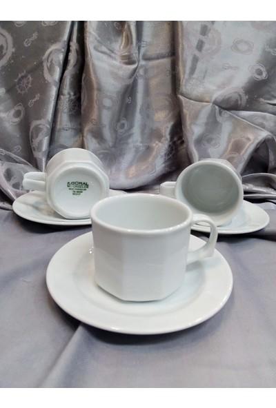 Güral Porselen Köşeli Çay Fincan Takımı 6 Kişilik