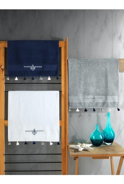 Cotton Box Nakışlı Fit 50X90 Havlu Seti 3 Adet Laci-Gri-Beyaz