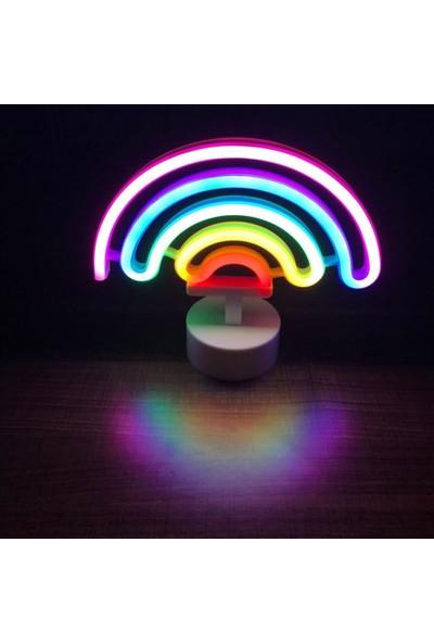 Orijinaldükkan Neon Işıklı Dekoratif Ayaklı Gökkuşağı Masa Gece Lambası