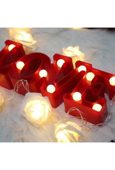 Orijinaldükkan Dekoratif LED Işıklı Kırmızı Love Masa Duvar Gece Lambası