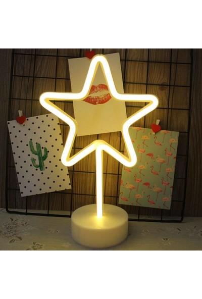 Orijinaldükkan Neon Işıklı Dekoratif Yıldız Masa Gece Lambası