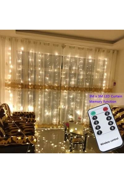 Orijinaldükkan 3x3 Metre Pilli Perde LED Işıklar Gün Işığı Kumandalı Animasyonlu
