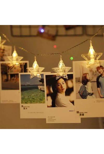 Orijinaldükkan 1,5 Metre LED Işıklı Yıldızlı Fotoğraf Mandalları Pilli Aydınlatma Ev Dekorasyonu