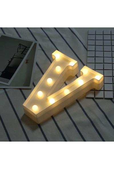 Orijinaldükkan Dekoratif LED Işıklı V Harfi