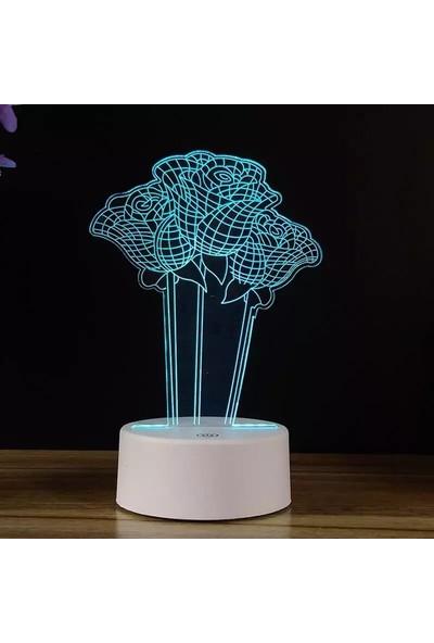 Orijinaldükkan 3D Üç Boyutlu Güllü Gece Lambası Dokunmatik Renk Değiştiren