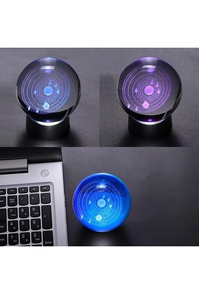 Orijinaldükkan Kristal Cam Küre Samanyolu Renk Değiştiren LED Işıklı Gece Lambası