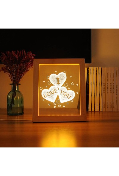 Orijinaldükkan Ahşap 3D Üç Boyutlu I Love You Çerçeve Gece Lambası