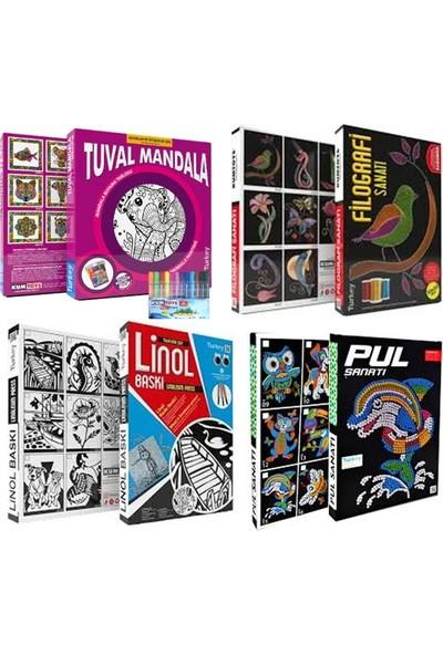 Kumtoys Tuval Mandala +Filografi Sanatı+Linol Baskı + Pul Sanatı (4'lü Set)
