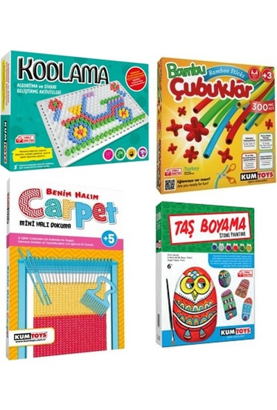 Kumtoys Kodlama + Bambu Çubukları + Halı Dokuma + Taş Boyama (4'lü Set)