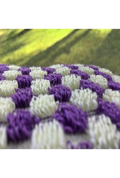 Yavuz Tekstil Kara Tezgah Dokuma El Havlusu Mor & Beyaz