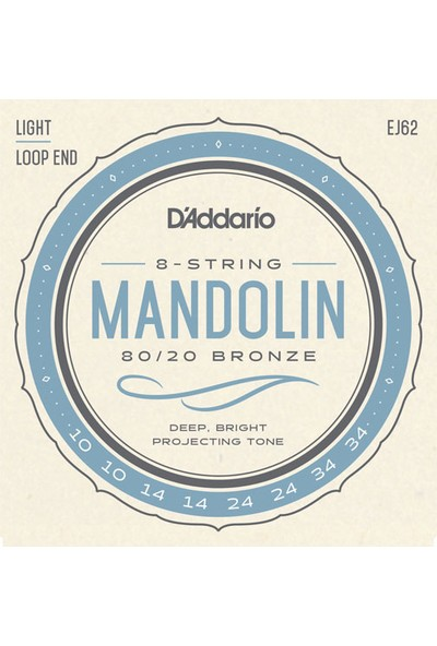 D'addario EJ62 80/20 Bronze Mandolin Strings, Light Takım Tel Mandolin Teli 10-34
