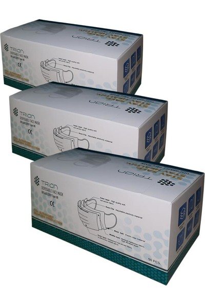 Trion Cerrahi Maske Meltblown Kumaşlı 3 Katlı Telli UM-215 TIP2R Utrasonik 3 Kutu 150 Adet