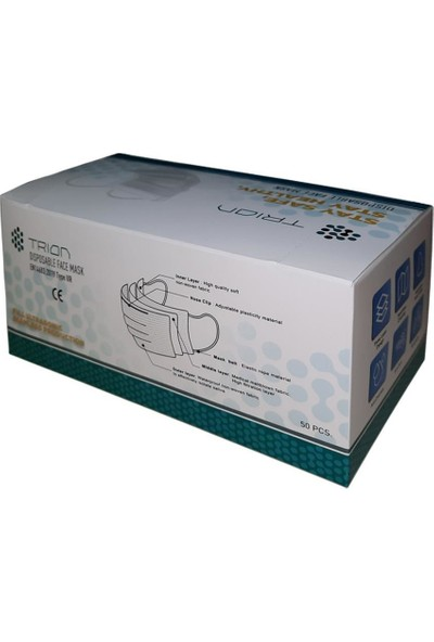 Trion TIP2R Cerrahi Maske Meltblown Kumaşlı Ultrasonık 3 Katlı Telli Trion UM-215 40 Kutu 2000 Adet