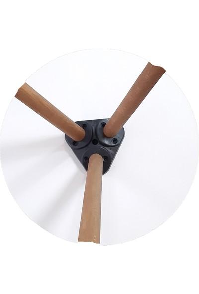İntergo Renkli 3'lü Zigon Sehpa Ahşap Ayaklı Yuvarlak Pastel Tasarım - Pembe Beyaz Gri