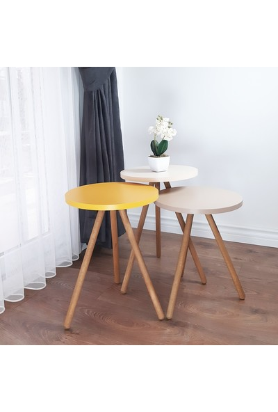 İntergo Renkli 3'lü Zigon Sehpa Ahşap Ayaklı Yuvarlak Pastel Tasarım - Cappuccino Krem Sarı