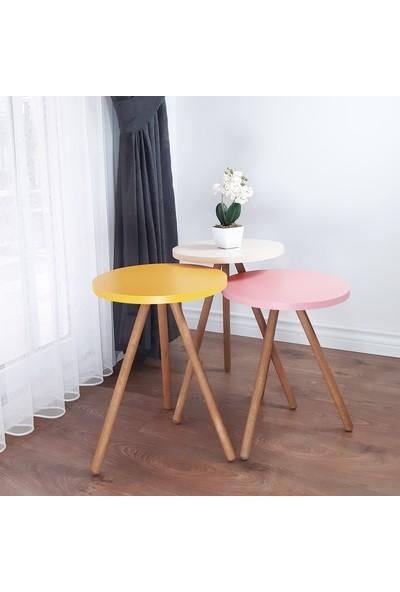 İntergo Renkli 3'lü Zigon Sehpa Ahşap Ayaklı Yuvarlak Pastel Tasarım - Sarı Krem Pembe