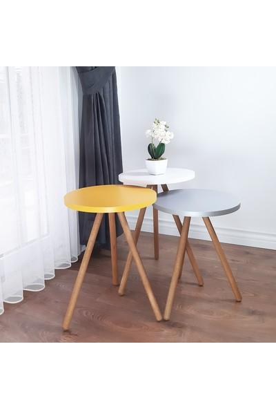 İntergo Renkli 3'lü Zigon Sehpa Ahşap Ayaklı Yuvarlak Pastel Tasarım - Gri Beyaz Sarı