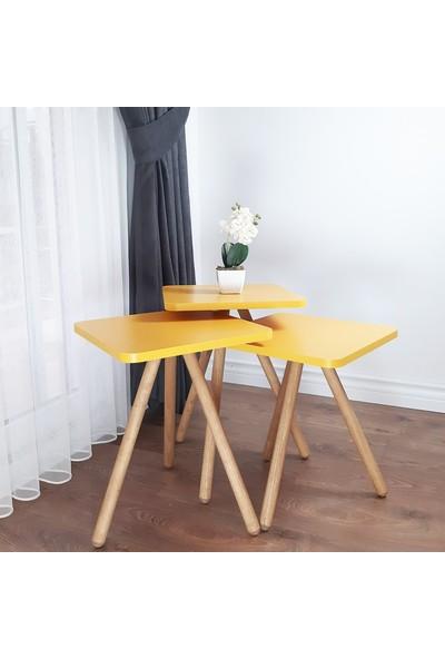İntergo 3'lü Zigon Sehpa Ahşap Ayaklı Kare Tasarım Sarı