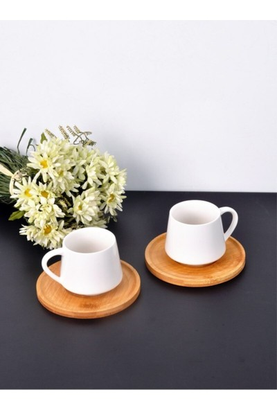Mien Bambulu Porselen 2'li Kahve Fincanı