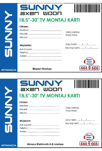 "Sunny Axen Woon Montaj - Tanıtım 18-30"" Dahil Montaj Kart Ücreti"