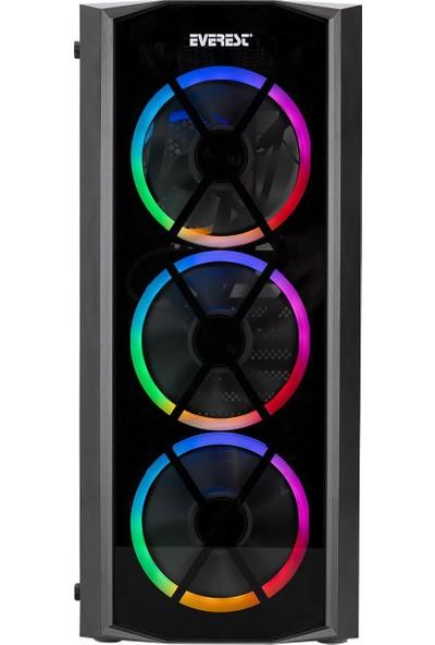 Everest Flat Glass 4X12CM Rainbow Fan Tempered Camlı Bilgisayar Kasası