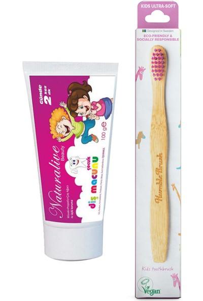Naturalive Florürsüz Çocuk Diş Macunu Humblebrush Organik Diş Fırçası Lila