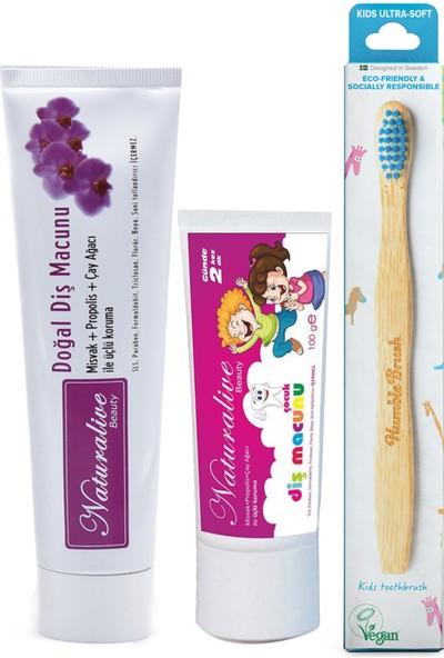 Naturalive Florürsüz Çocuk +Yetişkin Diş Macunu Humblebrush Organik Diş Fırçası Mavi
